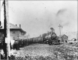 Passenger train of the White Pass & Yukon Railroad leaving Skagway station for White Pass...