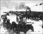 Horse drawn wagons waiting to load freight from the White Pass & Yukon Railroad, on the summit...