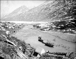 Tent city at Bennett showing One Mile River, British Columbia, ca. 1898.