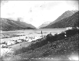 Bennett Lake showing tent settlement of Bennett to the left, British Columbia, May 29, 1898.
