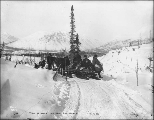 Klondikers with horse drawn sleds on the White Pass Trail between Log Cabin and Bennett, British...