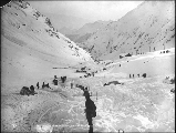 Approach to Chilkoot Pass depicting aftermath of the April 3, 1898 snowslide, Alaska.
