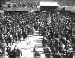 Crowd enjoying July 4th celebration, Dawson, Yukon Territory, 1899.
