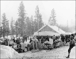 Men and supplies gathered around the Canadian custom house, Log Cabin, British Columbia, March 17,...