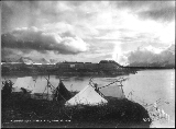 Circle City, Alaska, showing tents in the foreground, June 23, 1896