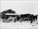 Dogsled, men, and supplies outside of log cabin at Sixtymile Post, Yukon Territory, ca. 1898.