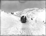 Packing up the White Pass Trail with horse drawn sleds, Alaska, March 20, 1899.