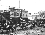 Packtrain carrying freight outside of the Bartlett Bros. offices, Dawson, Yukon territory, 1899.