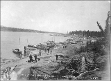 Klondikers with their boats at Tagish between Tagish Lake and Marsh Lake, Yukon Territory, ca....