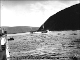 Steamboat COLUMBIAN and steamboat ELDORADO in a race on the Yukon River from Dawson to Whitehorse...