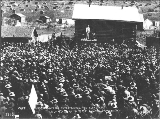Captain Jack Crawford giving a speech at the July 4th celebration, Dawson, Yukon Territory, 1899.