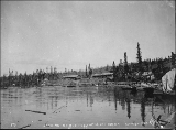 Boat landing at the head of Miles Canyon on the Yukon River, Yukon Territory, 1898.