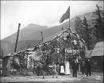 City Hall decorated for July 4th celebration, Skagway, Alaska, 1898.