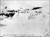 Arrival of the first passenger train of the White Pass & Yukon Railroad on the summit of White...