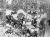 Blockade of Klondikers on Porcupine Hill, White Pass Trail, Alaska, ca. 1898.