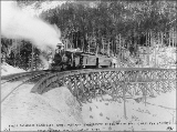 First passenger train of the White Pass & Yukon Railroad crossing the east fork of Skagway...