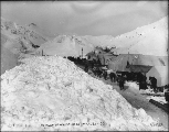 Packtrains and tents at the summit of White Pass, Alaska, March 20, 1899.