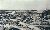 Tents along the beach with driftwood in the foreground, Nome, Alaska, ca. 1900.