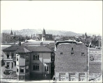 Panoramic view looking northwest from the vicinity of Pine St. and 2nd Ave., Seattle, Washington,...