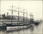 Four-masted bark PLACILLA along with other sailing vessels and steamships at the Northwestern...