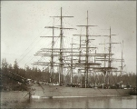 Four-masted bark DRUMMUIR anchored probably at Port Blakely, Washington, ca. 1900.