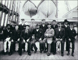 Captain F.H. Henning and the crew of the three-masted ship STRONSA taken on deck, Puget Sound...
