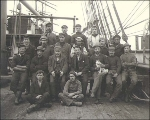 Crew of the sailing vessel CLAN MACPHERSON taken on deck, Puget Sound port, Washington, ca. 1904.