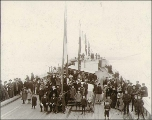Launching the five-masted schooner H.K. HALL at the Hall Brothers Shipyard, Port Blakely,...