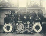 Crew on the deck of the sailing vessel DUQUESNE, Puget Sound port, Washington, ca. 1904.