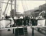 Crew on the deck of the British bark DUNS LAW, probably Tacoma, Washington, ca. 1904.