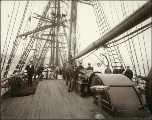 Crew of the four-masted bark WEST LOTHIAN taken on deck, Puget Sound port, Washington, ca. 1904.