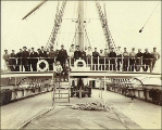 Crew of the four-masted bark COLUMBIA, Puget Sound port, Washington, ca. 1904.
