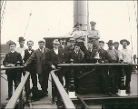 Crew on the deck of the four-masted bark LEVERNBANK, Puget Sound port, Washington, ca. 1904.