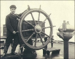 Crew member, perhaps cabin boy, of the three-masted sailing vessel DIMSDALE, Puget Sound port,...