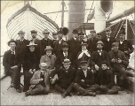 Crew on the deck of the steamship TACOMA, Puget Sound port, Washington, ca. 1904.