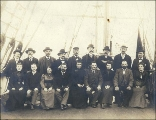 Crew of the four-masted bark LISBETH taken on deck, Puget Sound port, Washington, ca. 1904.