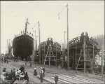 Launching of the five-masted schooner H.K. HALL at the Hall Brothers Shipyard, Port Blakely,...