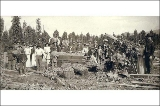 Hop pickers with baskets and hop boxes, unidentified farm, probably Puget Sound region,...