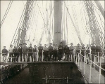 Crew of the four-masted bark OCEANA, taken on deck, Puget Sound port, Washington, ca. 1904.