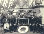Crew on the deck of the four-masted British bark LYNTON, Puget Sound port, Washington, ca. 1904.