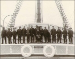 Crew of the British sailing vessel GLOOSCAP assembled on the deck, Washington, ca. 1904.