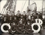 Crew of the British sailing vessel PENTHESILEA taken on deck, Puget Sound port, Washington, ca....