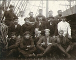 Crew on deck of the sailing vessel SCHWARZENWALD, Washington, ca. 1904.