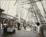 Deck of the sailing vessel EVA MONTGOMERY at dock probably either in Tacoma or Seattle,...