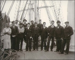 Crew on the deck of the sailing vessel ILALA, Puget Sound port, Washington, ca. 1904.