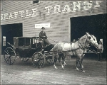 Horse and carriage outside of Seattle Transfer Company, Seattle, Washington, ca. 1900.