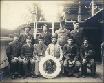 Crew of the bark EURASIA taken on deck, Puget Sound port, Washington, ca. 1904.