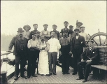 Crew of the sailing vessel PASS OF BALMAHA taken on deck, Puget Sound port, Washington, ca. 1904.