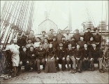 Crew on the deck of the four-masted bark HOWTH, Puget Sound port, Washington, ca. 1904.