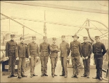 Crew of the U.S. Army transport BURNSIDE, probably Seattle or Tacoma harbor, Washington, ca. 1900.